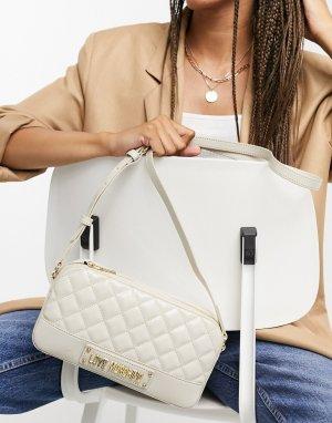 Небольшая стеганая сумка цвета слоновой кости -Кремовый Love Moschino