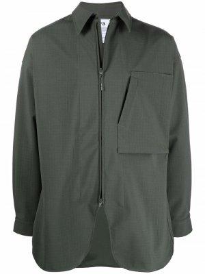 Куртка-рубашка с накладным карманом Y-3. Цвет: зеленый