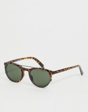Коричневые черепаховые солнцезащитные очки со съемными линзами -Коричневый New Look