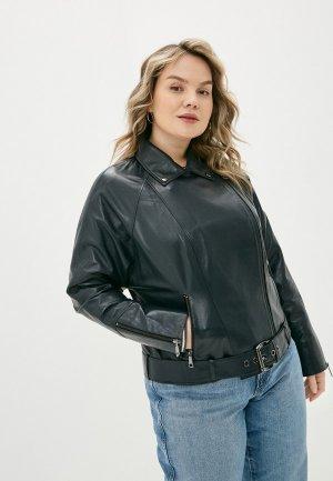 Куртка кожаная Le Monique RDK395LS21/1. Цвет: синий