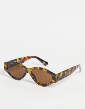 Солнцезащитные очки в коричневой черепаховой оправе -Коричневый цвет ASOS DESIGN