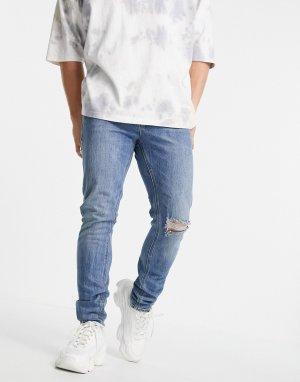 Голубые зауженные джинсы классического «американского» кроя с рваной отделкой на коленях Cone Mill Denim-Голубой ASOS DESIGN
