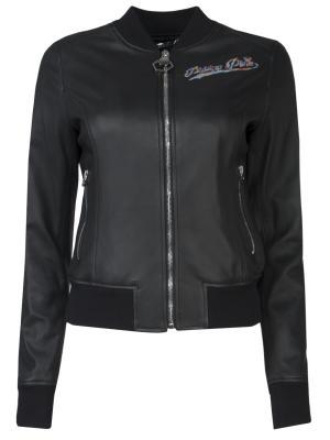 Кожаная куртка с вышивкой Philipp Plein. Цвет: черный