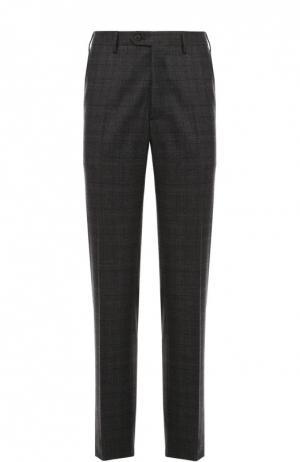Классические шерстяные брюки в клетку Brioni. Цвет: темно-серый