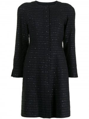Однобортное пальто с пайетками Chanel Pre-Owned. Цвет: черный