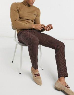 Классические коричневые брюки скинни в мелкую клетку -Коричневый цвет Topman