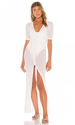 Вязаное макси платье sevilla superdown. Цвет: белый