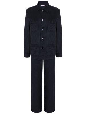 Пижама шелковая в полоску DEREK ROSE