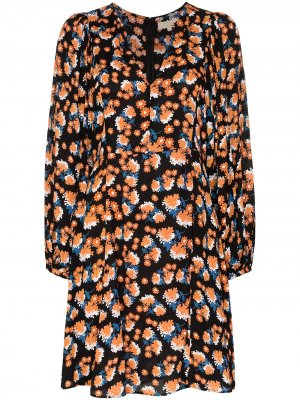 Платье мини с V-образным вырезом и цветочным принтом byTiMo. Цвет: черный