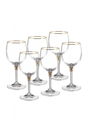Бокал для вина 6 шт BOHEMIA CRYSTAL. Цвет: отводка, золотой