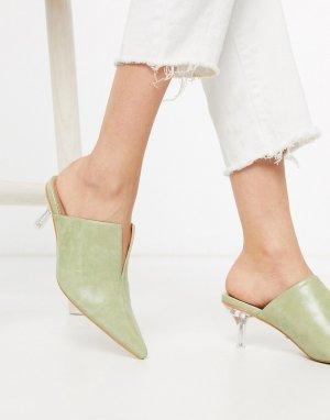 Шалфейно-зеленые мюли с прозрачным каблуком -Зеленый Topshop