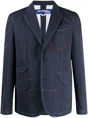 Пиджак с декоративной строчкой Junya Watanabe MAN. Цвет: синий