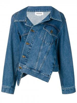 Асимметричная джинсовая куртка Monse. Цвет: синий