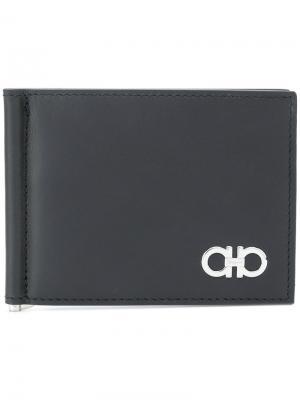 Double Gancio bi-fold wallet Salvatore Ferragamo. Цвет: чёрный