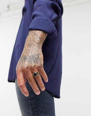 Кольцо-печатка золотистого цвета с моховым агатом -Золотой ASOS DESIGN