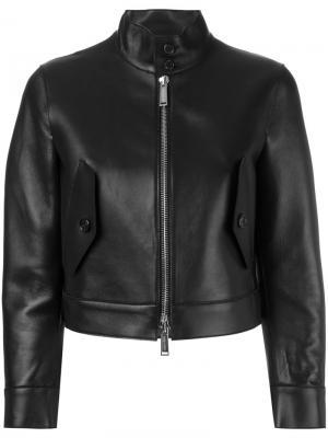 Укороченная кожаная куртка Dsquared2. Цвет: чёрный