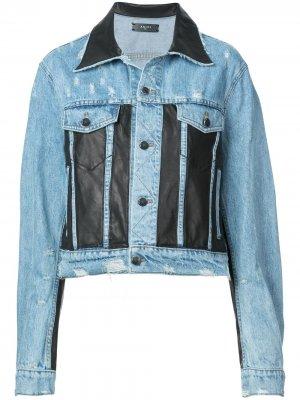 Джинсовая куртка со вставками из искусственной кожи AMIRI. Цвет: синий