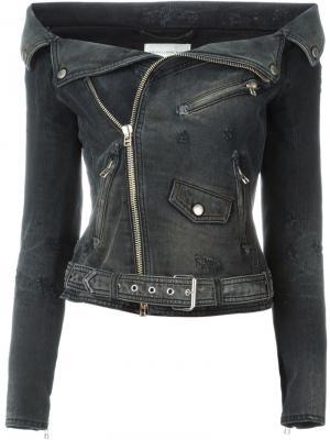 Джинсовая байкерская куртка Faith Connexion. Цвет: чёрный
