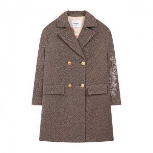 Шерстяное пальто Dondup. Цвет: коричневый