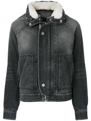 Приталенная джинсовая куртка Saint Laurent. Цвет: серый