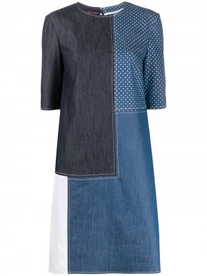 Джинсовая куртка-рубашка в технике пэчворк Talbot Runhof. Цвет: синий