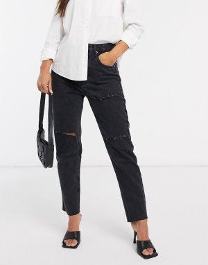 Черные рваные джинсы в винтажном стиле -Черный Stradivarius