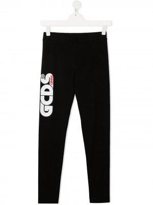 TEEN logo-print stretch trousers Gcds Kids. Цвет: черный