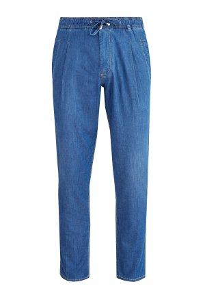 Зауженные джинсы в стиле casual с защипами и эластичным поясом SCISSOR SCRIPTOR. Цвет: синий