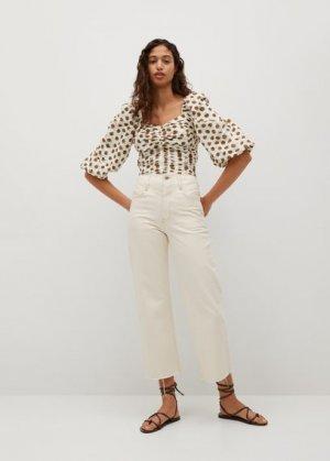 Блузка в горошек со сборками - Lupa Mango. Цвет: экрю