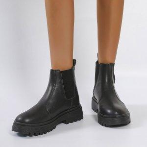 Ботинки челси массивный SHEIN. Цвет: чёрный