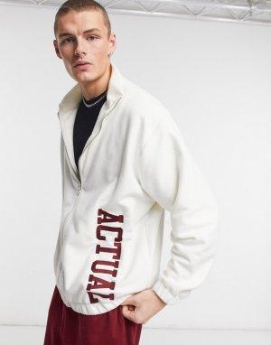 Кремовая куртка на молнии из плотного флиса с вышивкой -Бежевый ASOS Actual
