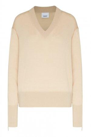 Бежевый пуловер с логотипами на манжетах Burberry. Цвет: коричневый