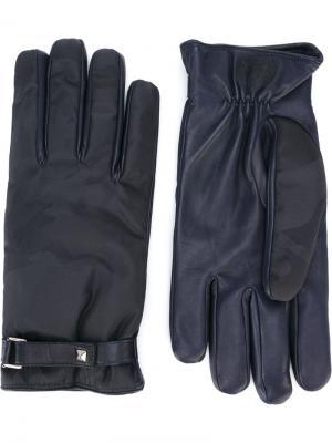 Перчатки с камуфляжным узором Valentino. Цвет: синий
