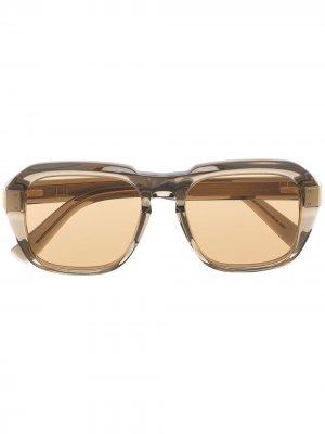 Солнцезащитные очки в квадратной оправе Dunhill. Цвет: коричневый