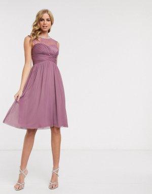 Розовое платье миди с кружевной вставкой и отделкой -Розовый цвет Lipsy
