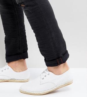 Белые фактурные эспадрильи из парусины для широкой стопы на шнуровке -Белый ASOS DESIGN