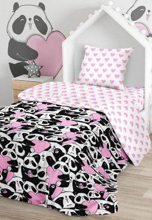 Постельное белье 1,5-спальное Juno Love panda. Цвет: разноцветный