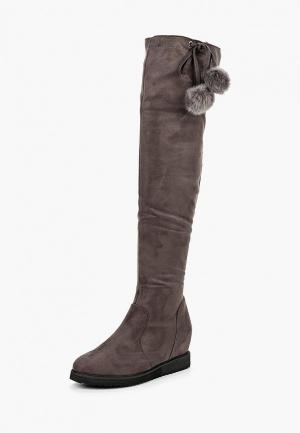 Сапоги Lost Ink SAFFY WEDGE FAUX FUR TURNOVER. Цвет: серый