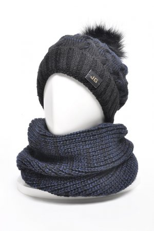Комплект: шапка, снуд, варежки JAGGA. Цвет: черный, темно-синий