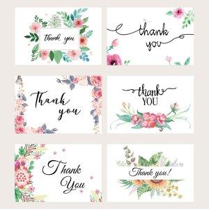 6 наборов Поздравительная открытка с цветочным принтом SHEIN. Цвет: многоцветный