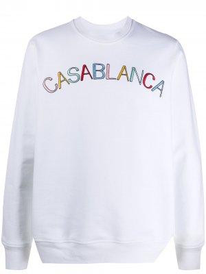 Толстовка с вышитым логотипом Casablanca. Цвет: белый