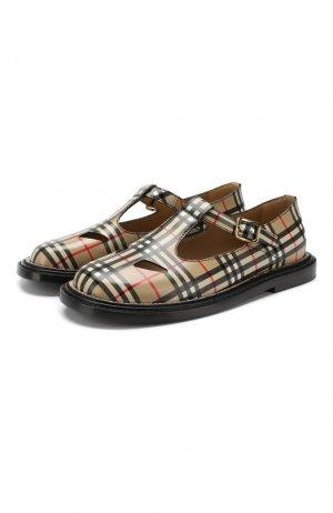 Кожаные сандалии Burberry. Цвет: бежевый