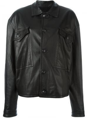 Кожаная куртка Versace Vintage. Цвет: чёрный