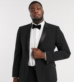 Черный приталенный пиджак-смокинг Plus-Черный цвет ASOS DESIGN