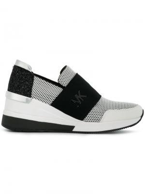 Кроссовки без застежки с контрастными панелями Michael Kors. Цвет: белый