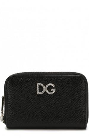 Кожаный кошелек на молнии с тиснением Dauphine Dolce & Gabbana. Цвет: черный