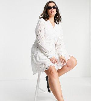 Белое свободное платье мини с длинными рукавами и вышивкой ришелье -Белый River Island Plus