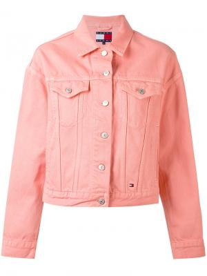 Джинсовая куртка с нагрудными карманами Tommy Jeans. Цвет: розовый и фиолетовый