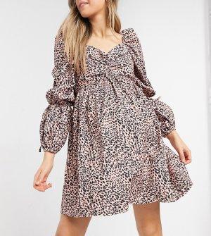 Розовое присборенное платье мини с расклешенной юбкой, объемными рукавами и леопардовым принтом x Dani Dyer-Многоцветный In The Style Maternity