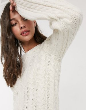 Фактурный вязаный свитер с высоким воротом -Кремовый Abercrombie & Fitch